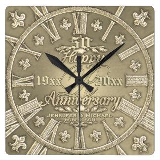50th Golden Wedding Anniversary Square Clocks