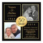 "50th Golden Wedding Anniversary Surprise Party 5.25"" Square Invitation Card"