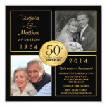 "50th Golden Wedding Anniversary Surprise Party 5.25"" Square Invitation Card"