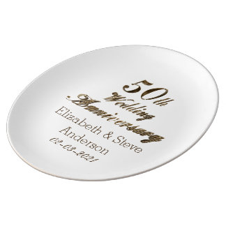 50th Golden Wedding Anniversary Typography Elegant Porcelain Plates