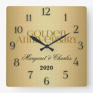 50th Golden Wedding Annivsersary Custom Square Wall Clock