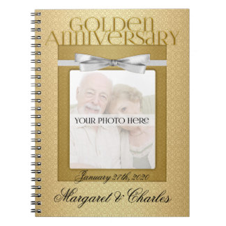 50th Golden Wedding Annivsersary Guest Book Spiral Note Books