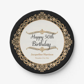 50th Happy Birthday Party Celebration Jewel Look 7 Inch Paper Plate
