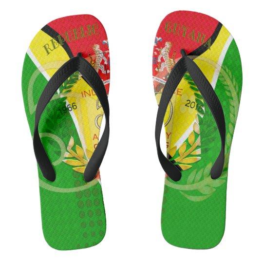 50th Independence Anniversary Guyanese pride Adult Flip Flops