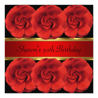 50th Invite Red Roses Black Gold Fabulous