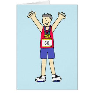 50th marathon Congratulations for a male. Card