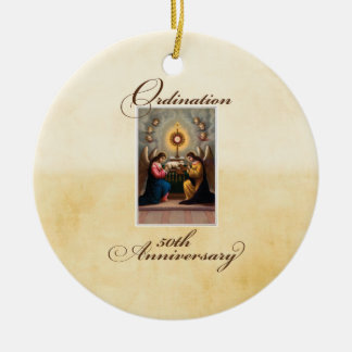 50th Ordination Anniversary Angels at Altar Ceramic Ornament