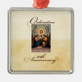 50th Ordination Anniversary Angels at Altar Metal Ornament