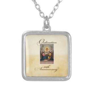 50th Ordination Anniversary Angels at Altar Silver Plated Necklace