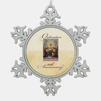 50th Ordination Anniversary Angels at Altar Snowflake Pewter Christmas Ornament