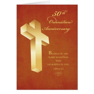 50th Ordination Anniversary Gold Cross Card