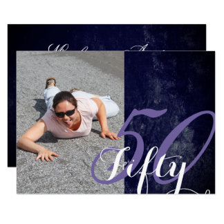 50th Party | 50 and Fabulous Purple Chic Photo Card
