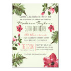 50th Party Exotic Hibiscus & Tropical Palm Leaves Card