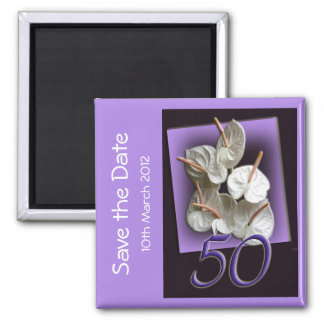 50th Party Save the Date Magnet - white anthuriums