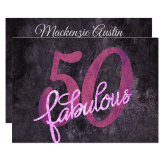 50th Pink Purple | 50 and Fabulous Modern Party | Card