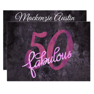 50th Pink Purple | 50 Fabulous Chic Birthday Party Card