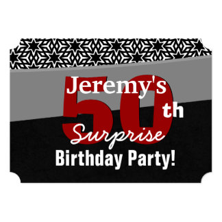"50th Surprise Birthday Black Red White Stars R231A 5"" X 7"" Invitation Card"