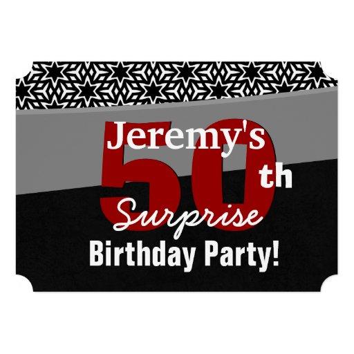 50th Surprise Birthday Black Red White Stars R231A Custom Invite