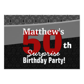 "50th Surprise Birthday Black White Red Y327 5"" X 7"" Invitation Card"