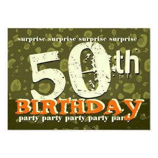 50th SURPRISE Birthday Khaki Orange Cream Camo Card