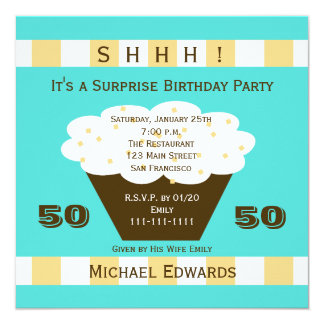 50th Surprise Birthday Party Invitation Cupcake