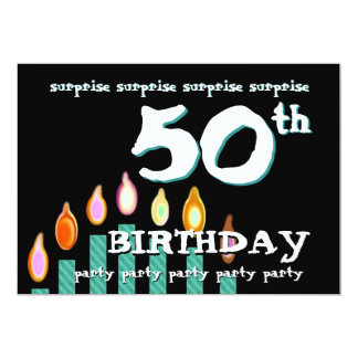 50th SURPRISE Birthday Party Turquoise Candles Card