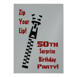 """50th SURPRISE Birthday Party Zip Your Lip 5"""" X 7"""" Invitation Card"""