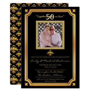 50th Wedding Anniversary - ADD PHOTO Invitations 4