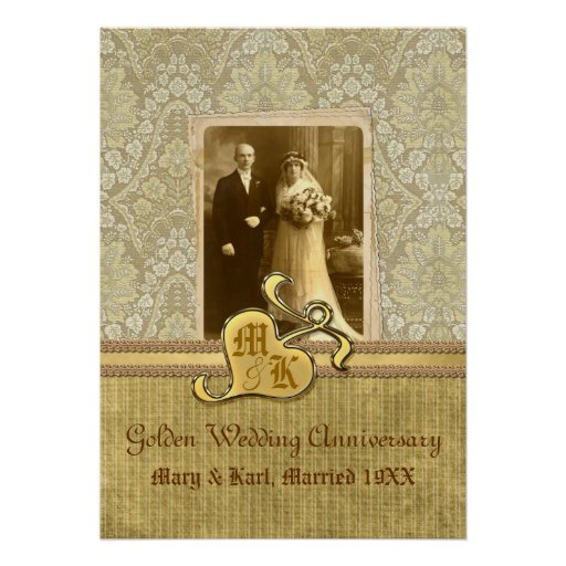 Th wedding anniversary antique damask gold poster zazzle