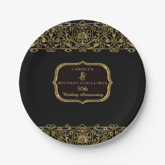 50th Wedding Anniversary Art Deco Nouveau Party Paper Plate