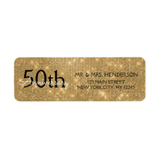 50th Wedding Anniversary Black and Gold Sparkle