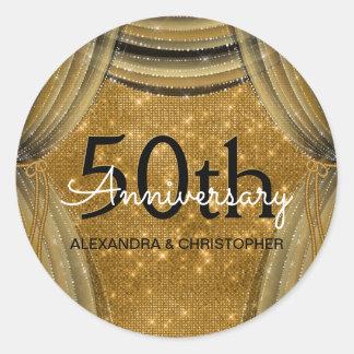 50th Wedding Anniversary Black and Gold Sparkle Classic Round Sticker