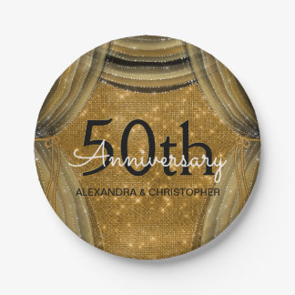 50th Wedding Anniversary Black and Gold Sparkle Paper Plate