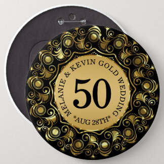 50th Wedding Anniversary Black & Gold, Custom Text 6 Inch Round Button