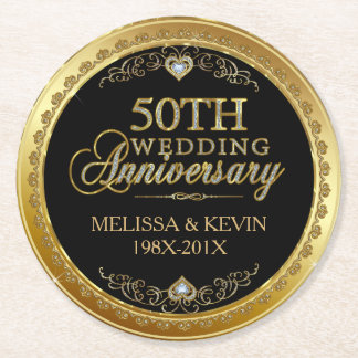 50th Wedding Anniversary Black & Gold Damasks 3 Round Paper Coaster