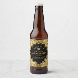 50th Wedding Anniversary Black & Gold Damasks Beer Bottle Label