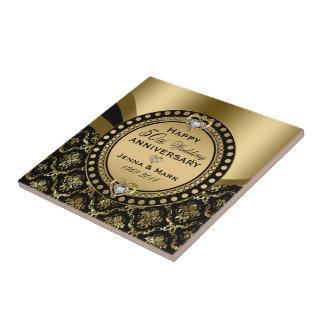 50th Wedding Anniversary Black & Gold Damasks Tile