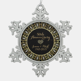 50th Wedding Anniversary Black & Gold Frame Pewter Snowflake Ornament