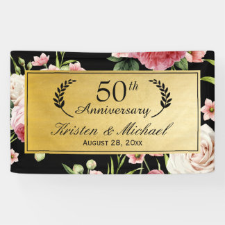 50th Wedding Anniversary Black Gold Vintage Floral Banner