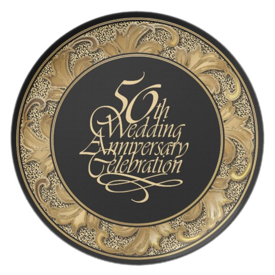 50th Wedding Anniversary Celebration Plate