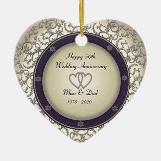 50th Wedding Anniversary Ceramic Heart Ornament