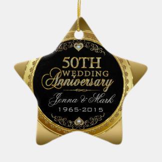 50th Wedding Anniversary Ceramic Star Ornament