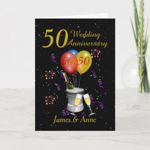 50th Wedding Anniversary Champagne Card