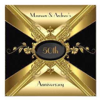 50th Wedding Anniversary Deco Gold Golden 2 5.25x5.25 Square Paper Invitation Card