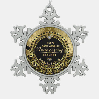 50th Wedding Anniversary Diamonds & Gold Snowflake Pewter Christmas Ornament