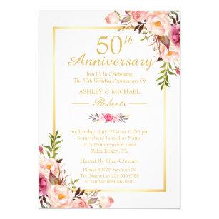 50th wedding anniversary invitations zazzle ca 50th wedding anniversary elegant chic gold floral invitation stopboris Gallery