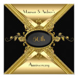 "50th Wedding Anniversary Elegant Gold Golden 5.25"" Square Invitation Card"
