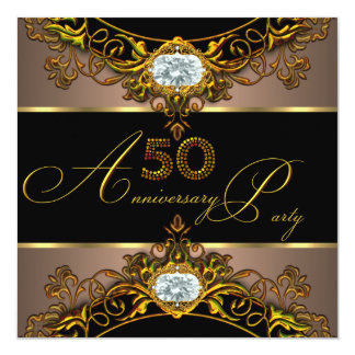 "50th Wedding Anniversary Elite Coffee Black Gold 2 5.25"" Square Invitation Card"