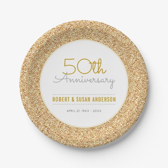 50th Wedding Anniversary Faux Gold Glitter 7 Inch Paper Plate