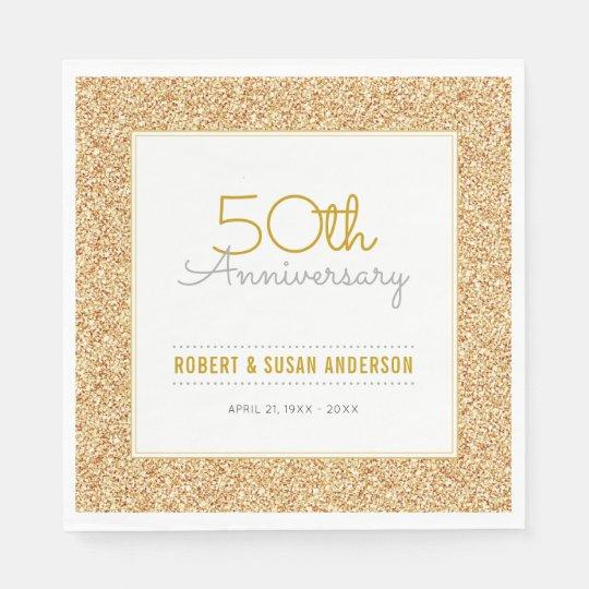 50th Wedding Anniversary Faux Gold Glitter Paper Napkins